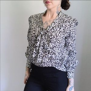 KATE SPADE Tie Neck Cotton Abstract Blouse